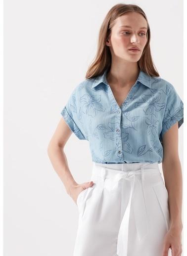 Mavi Kadın  Desenli Lyocell  Gömlek 122502-10242 Mavi